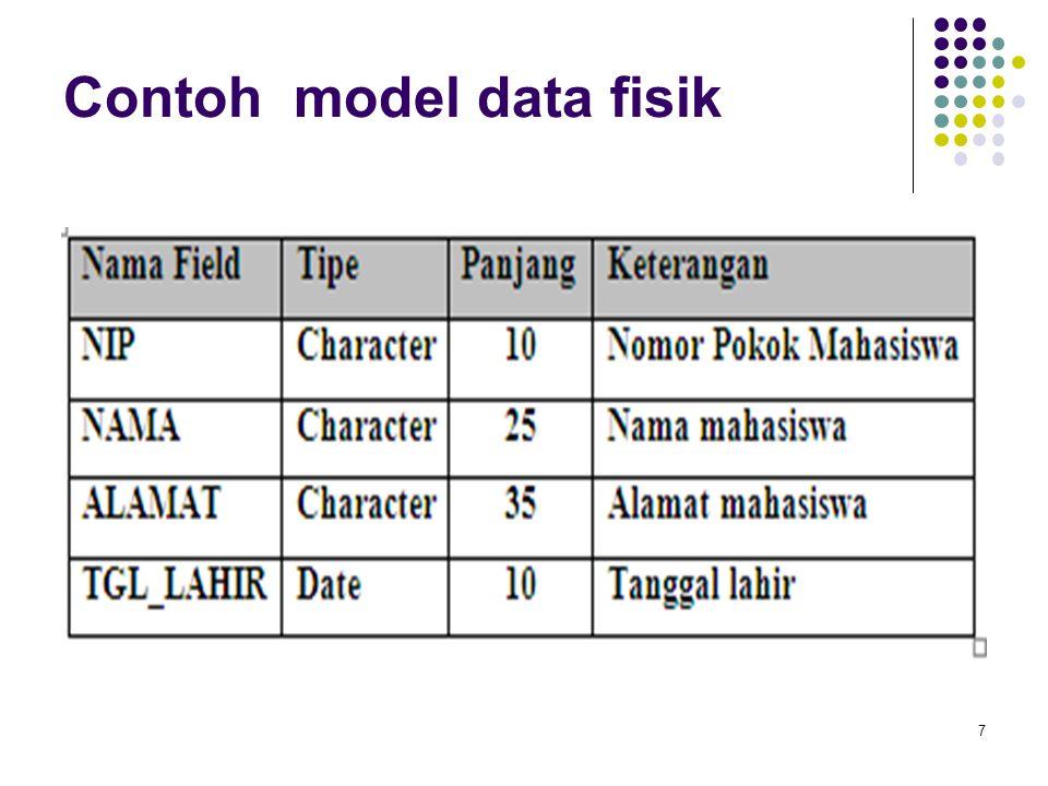 Model data level menengah (Implementasi) Menyediakan konsep yang menyembunyikan beberapa rincian dari penyimpanan data tetapi dapat diterapkan pada sistem komputer secara langsung.