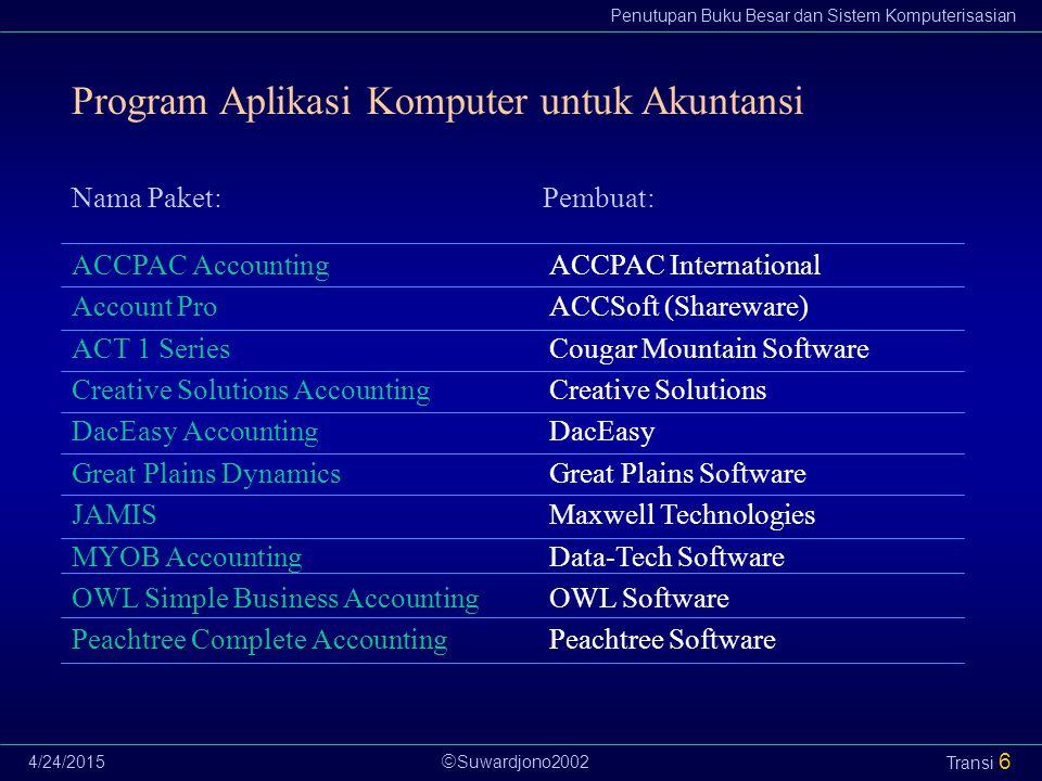 Suwardjono2002 Penutupan Buku Besar dan Sistem Komputerisasian 4/24/2015 Transi 6 Program Aplikasi Komputer untuk Akuntansi ACCPAC Accounting Accoun