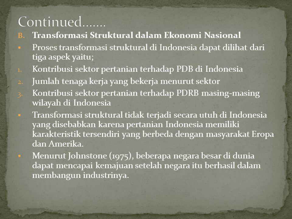 B. Transformasi Struktural dalam Ekonomi Nasional  Proses transformasi struktural di Indonesia dapat dilihat dari tiga aspek yaitu; 1. Kontribusi sek