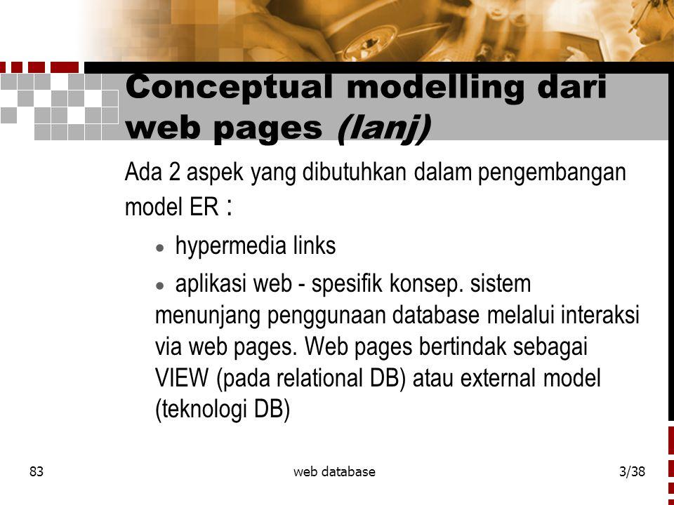 83web database3/38 Conceptual modelling dari web pages (lanj) Ada 2 aspek yang dibutuhkan dalam pengembangan model ER :  hypermedia links  aplikasi web - spesifik konsep.