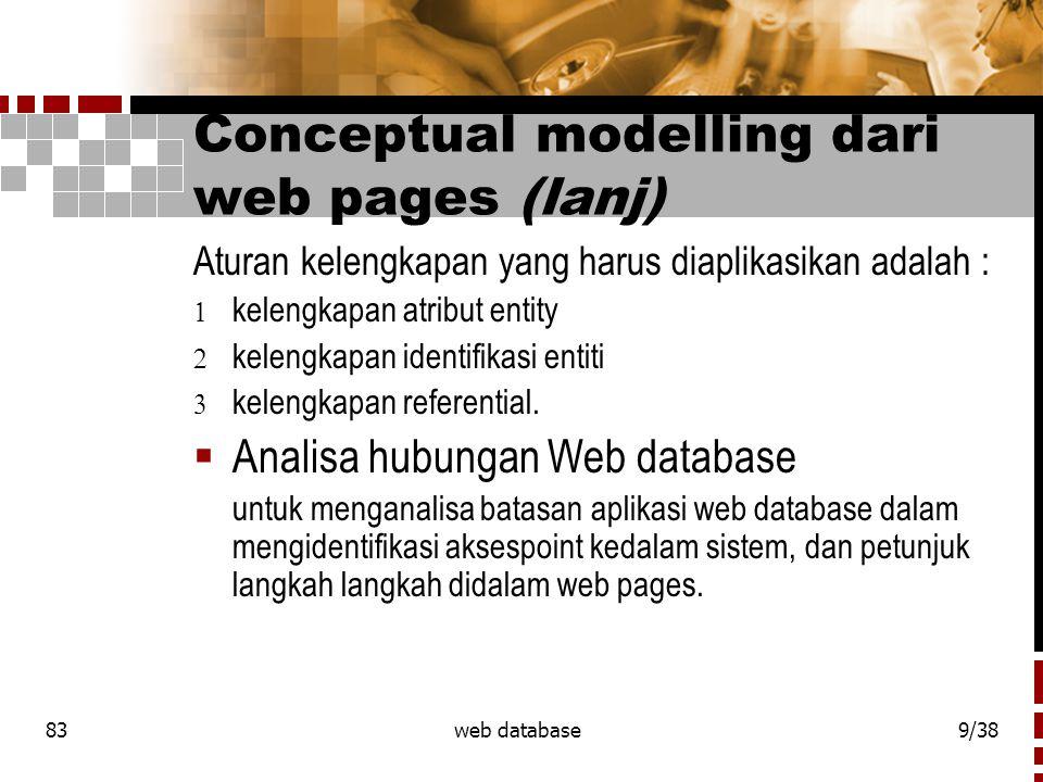 83web database9/38 Conceptual modelling dari web pages (lanj) Aturan kelengkapan yang harus diaplikasikan adalah :  kelengkapan atribut entity  kelengkapan identifikasi entiti  kelengkapan referential.