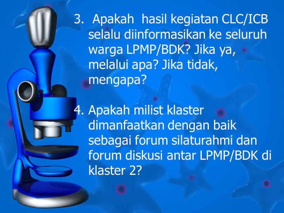3. Apakah hasil kegiatan CLC/ICB selalu diinformasikan ke seluruh warga LPMP/BDK.