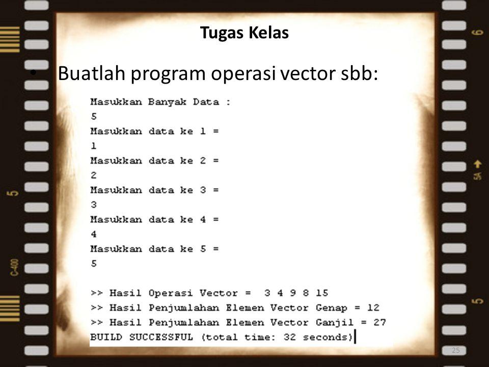 Tugas Kelas Buatlah program operasi vector sbb: 25