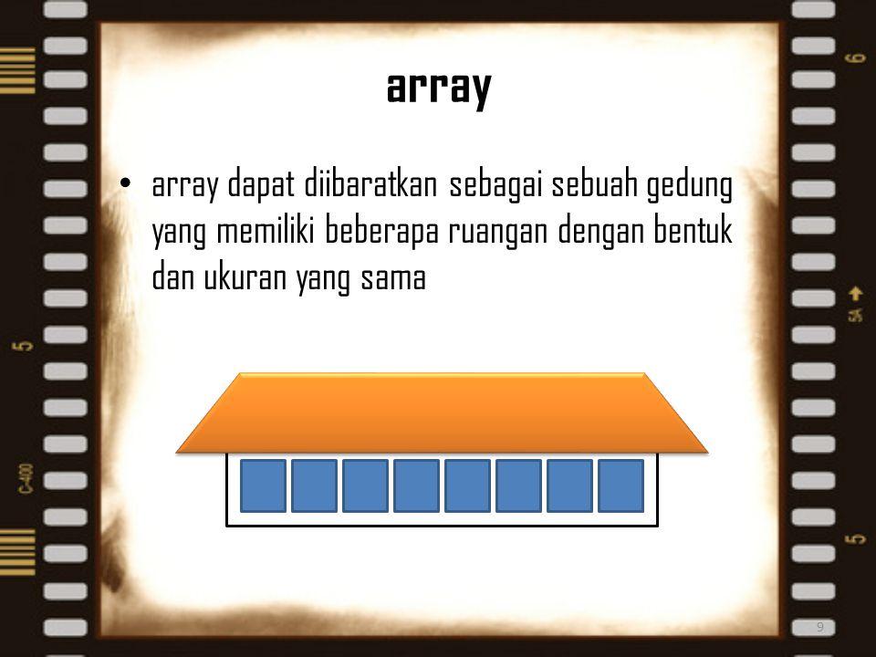 array array dapat diibaratkan sebagai sebuah gedung yang memiliki beberapa ruangan dengan bentuk dan ukuran yang sama 9
