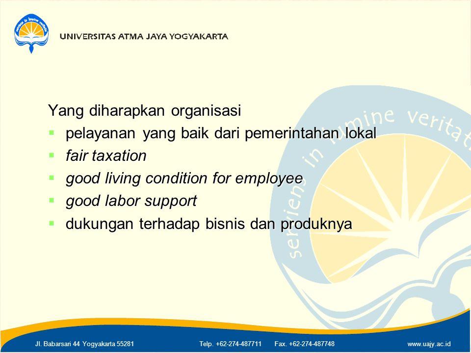 Jl. Babarsari 44 Yogyakarta 55281Telp. +62-274-487711 Fax. +62-274-487748www.uajy.ac.id Yang diharapkan organisasi  pelayanan yang baik dari pemerint