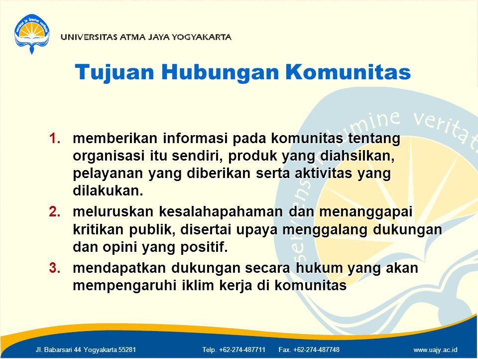 Jl. Babarsari 44 Yogyakarta 55281Telp. +62-274-487711 Fax. +62-274-487748www.uajy.ac.id Tujuan Hubungan Komunitas 1.memberikan informasi pada komunita