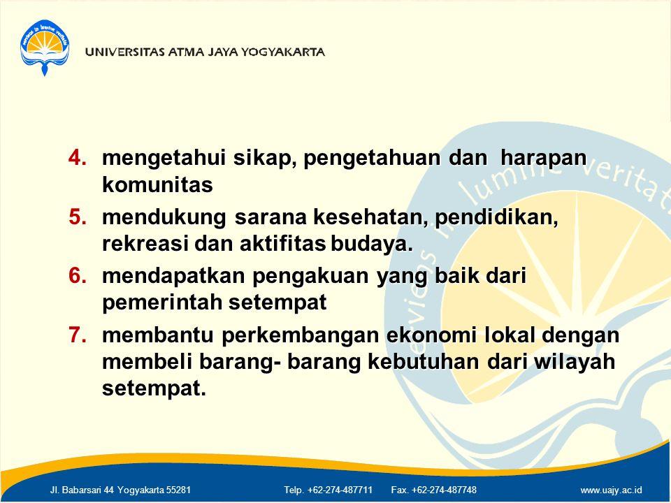Jl. Babarsari 44 Yogyakarta 55281Telp. +62-274-487711 Fax. +62-274-487748www.uajy.ac.id 4.mengetahui sikap, pengetahuan dan harapan komunitas 5.menduk