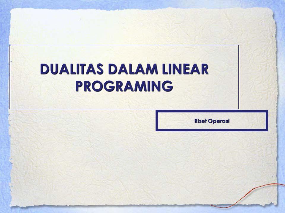 KONSEP DUALITAS Setiap persoalan linear programing mempunyai suatu linear program yang berkaitan, yang disebut dual .