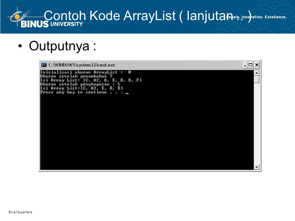 Bina Nusantara Contoh Kode ArrayList ( lanjutan.. ) Outputnya :