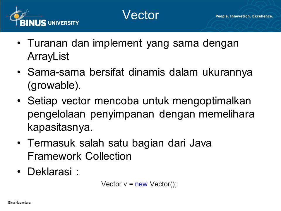 Bina Nusantara Vector Turanan dan implement yang sama dengan ArrayList Sama-sama bersifat dinamis dalam ukurannya (growable). Setiap vector mencoba un