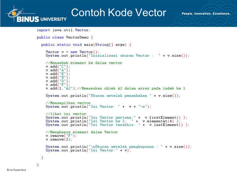 Bina Nusantara Contoh Kode Vector