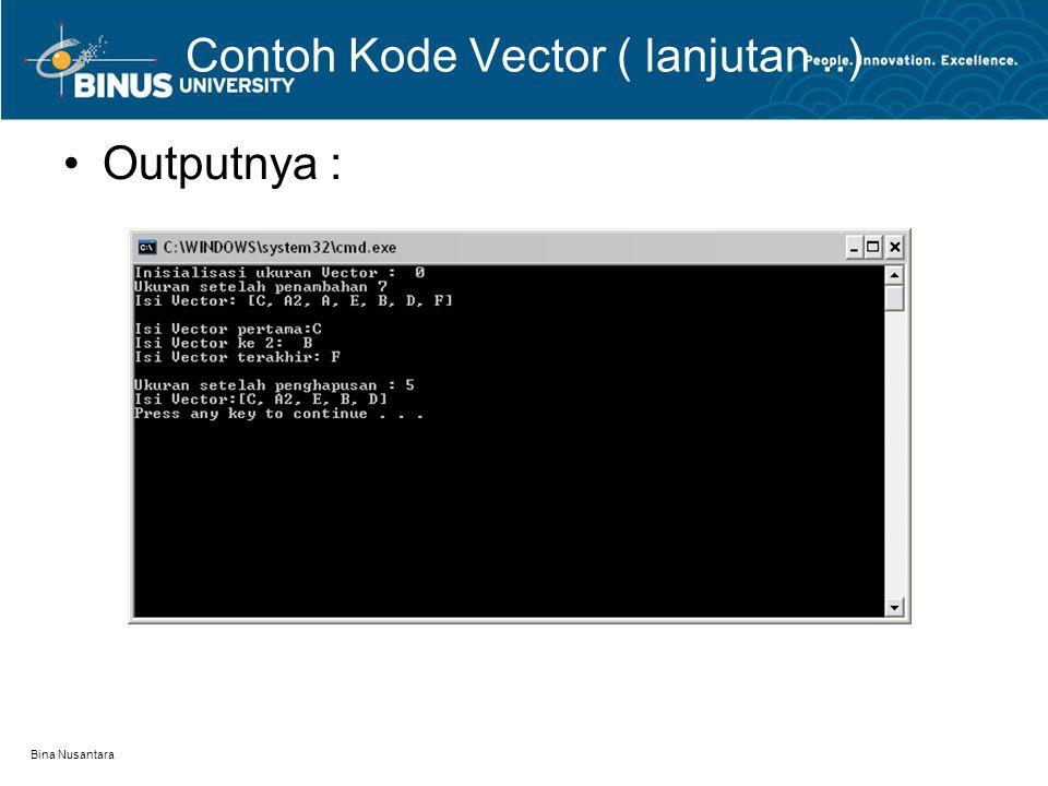 Bina Nusantara Contoh Kode Vector ( lanjutan..) Outputnya :