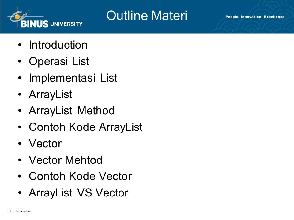 Bina Nusantara Outline Materi Introduction Operasi List Implementasi List ArrayList ArrayList Method Contoh Kode ArrayList Vector Vector Mehtod Contoh Kode Vector ArrayList VS Vector