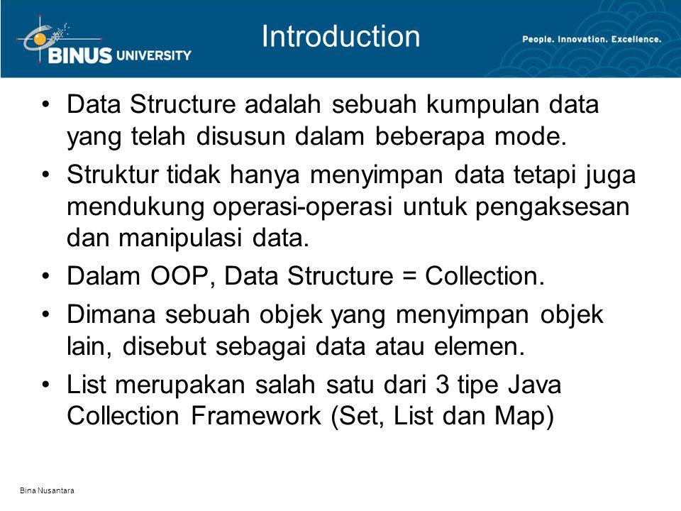 Bina Nusantara Introduction Data Structure adalah sebuah kumpulan data yang telah disusun dalam beberapa mode. Struktur tidak hanya menyimpan data tet