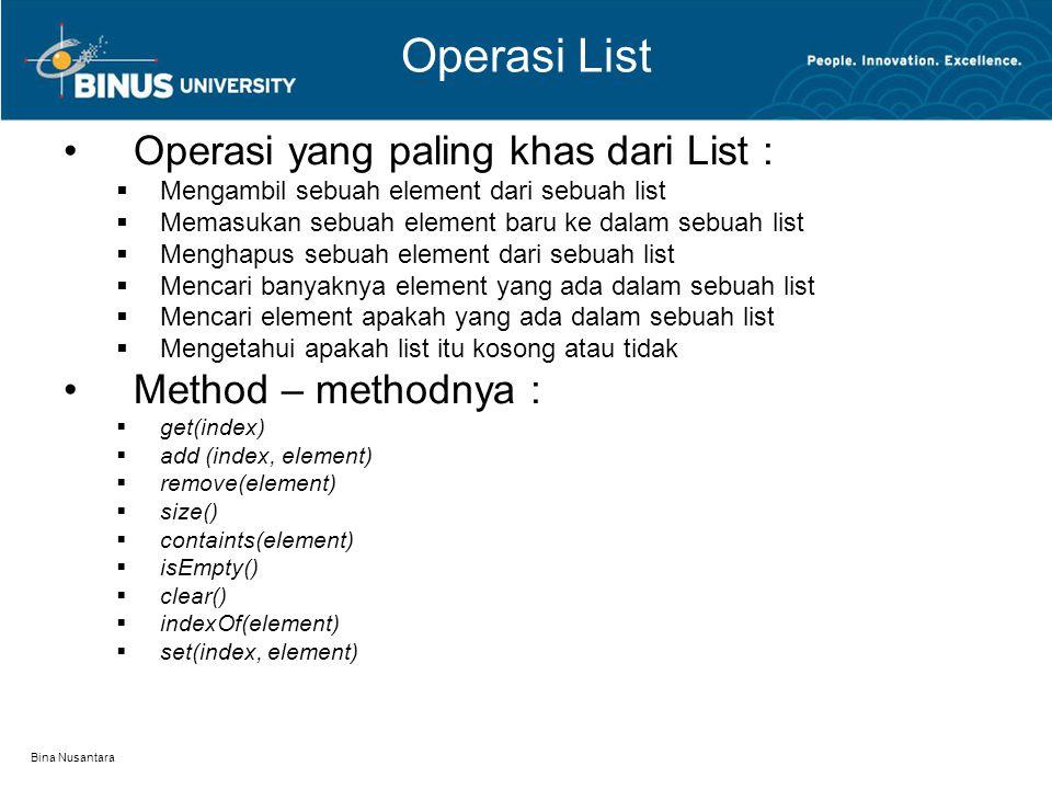 Bina Nusantara Operasi List Operasi yang paling khas dari List :  Mengambil sebuah element dari sebuah list  Memasukan sebuah element baru ke dalam