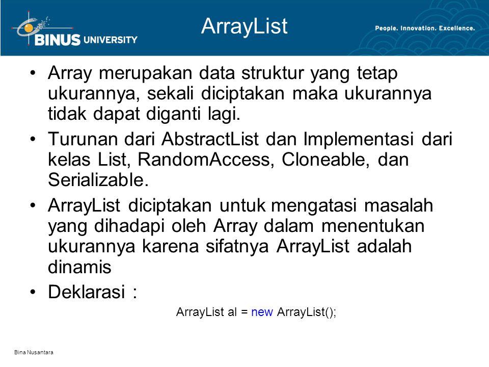 Bina Nusantara ArrayList Array merupakan data struktur yang tetap ukurannya, sekali diciptakan maka ukurannya tidak dapat diganti lagi. Turunan dari A