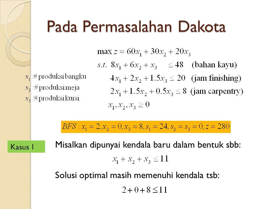 Pada Permasalahan Dakota Misalkan dipunyai kendala baru dalam bentuk sbb: Solusi optimal masih memenuhi kendala tsb: Kasus 1