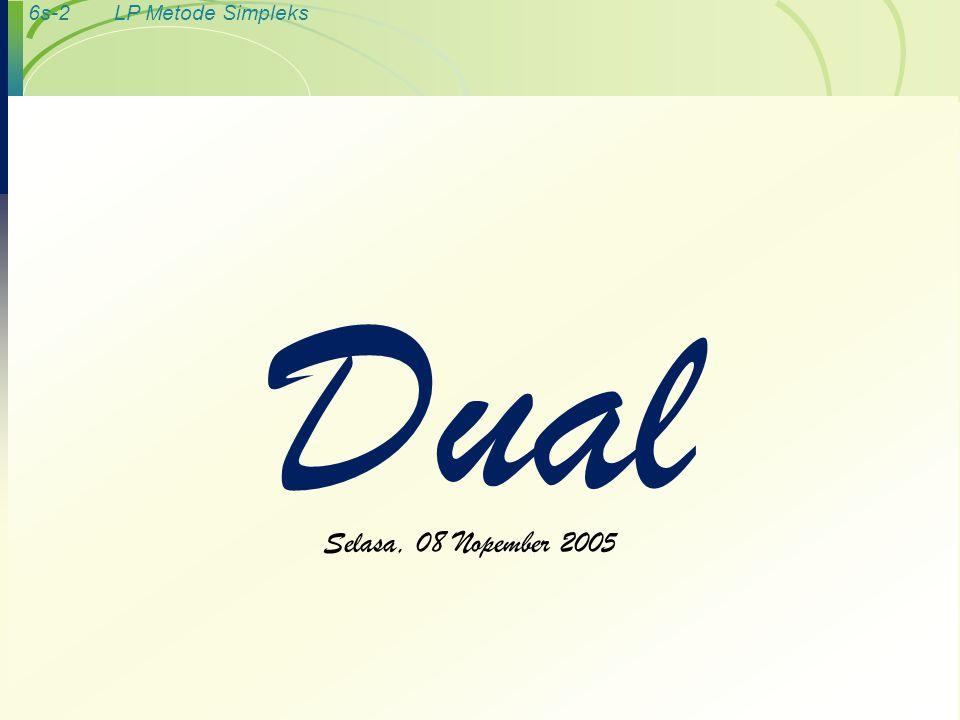 6s-2LP Metode Simpleks Dual Selasa, 08 Nopember 2005
