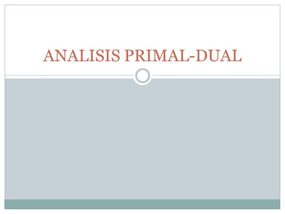 PENDAHULUAN Setiap persoalan program linier selalu memiliki 2 macam analisis yang menjadi satu (dua paket menjadi satu), yaitu Analisis Primal dan Analisis Dual.