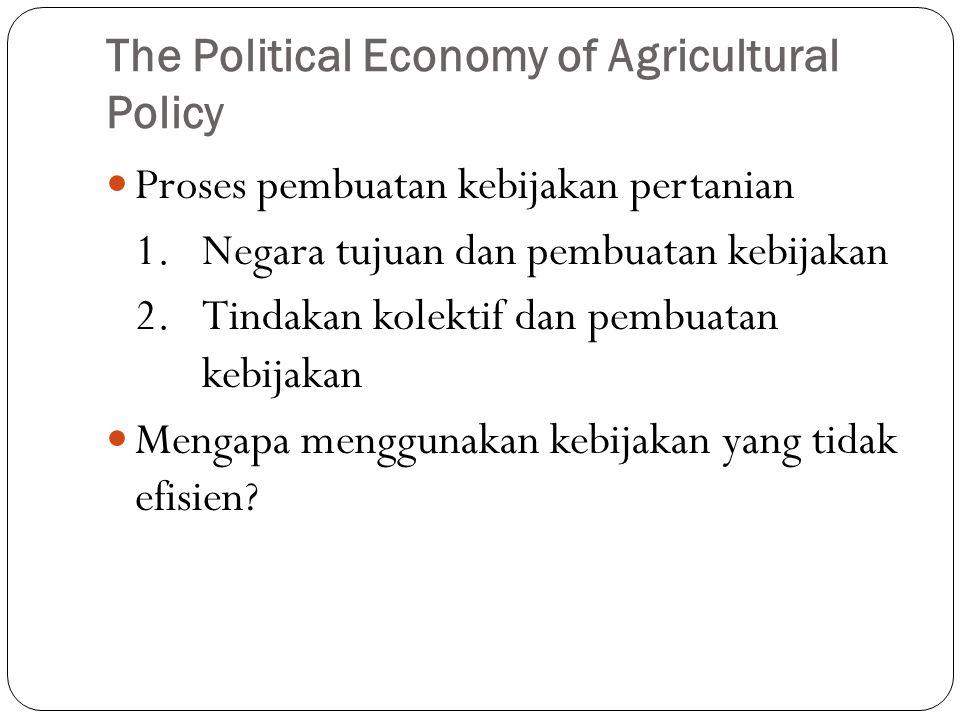 The Political Economy of Agricultural Policy Proses pembuatan kebijakan pertanian 1.Negara tujuan dan pembuatan kebijakan 2.Tindakan kolektif dan pembuatan kebijakan Mengapa menggunakan kebijakan yang tidak efisien