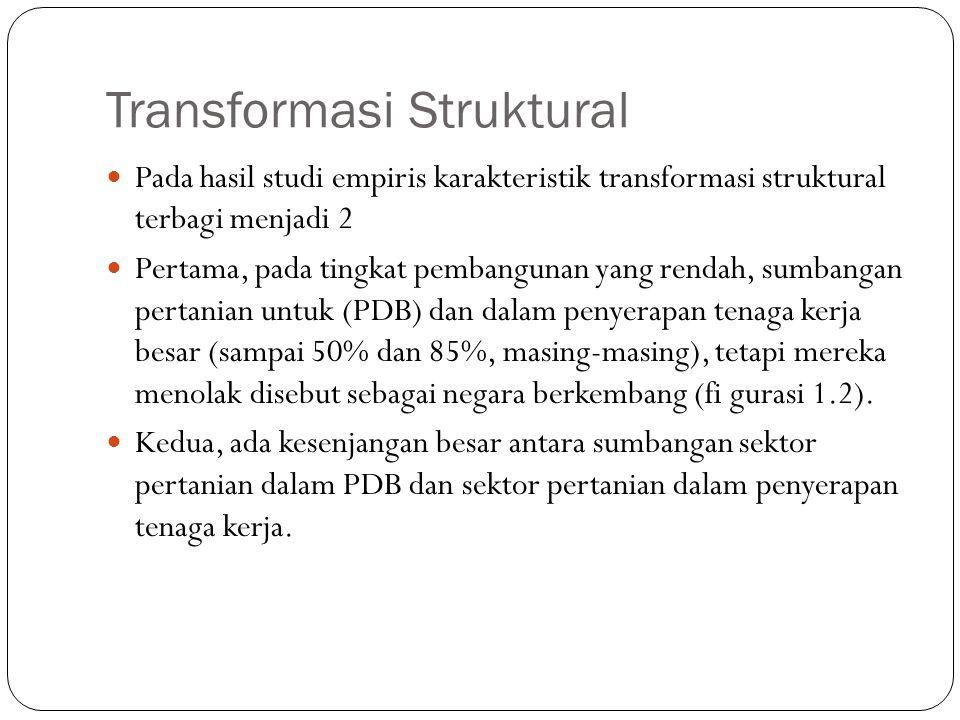 Transformasi Struktural Pada hasil studi empiris karakteristik transformasi struktural terbagi menjadi 2 Pertama, pada tingkat pembangunan yang rendah, sumbangan pertanian untuk (PDB) dan dalam penyerapan tenaga kerja besar (sampai 50% dan 85%, masing-masing), tetapi mereka menolak disebut sebagai negara berkembang (fi gurasi 1.2).