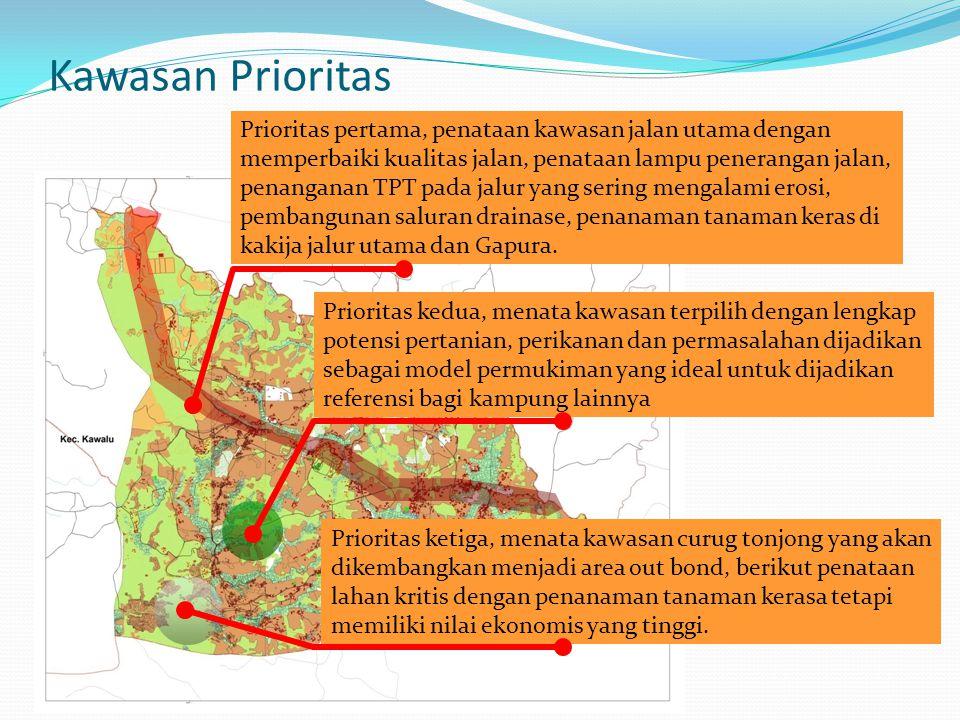 Kawasan Prioritas Prioritas pertama, penataan kawasan jalan utama dengan memperbaiki kualitas jalan, penataan lampu penerangan jalan, penanganan TPT p
