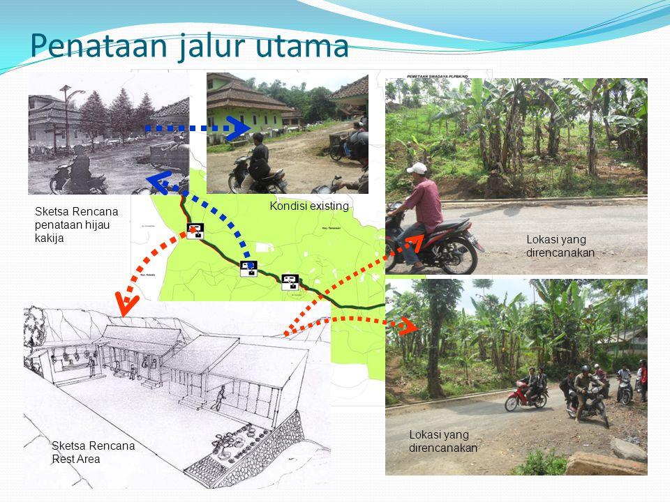 Penataan jalur utama Lokasi yang direncanakan Sketsa Rencana Rest Area Sketsa Rencana penataan hijau kakija Kondisi existing