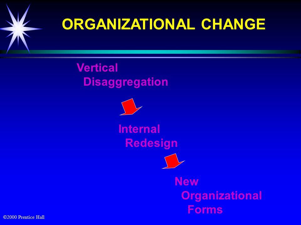 ©2000 Prentice Hall PERUBAHAN ORGANISASI ä Pengurangan secara vertikal (Vertical Disaggregation) : ä Mengurangi ukuran organisasi melalui pengurangan pekerjaan & penempatan middle manager serta tingkatan organisasi (downsizing)