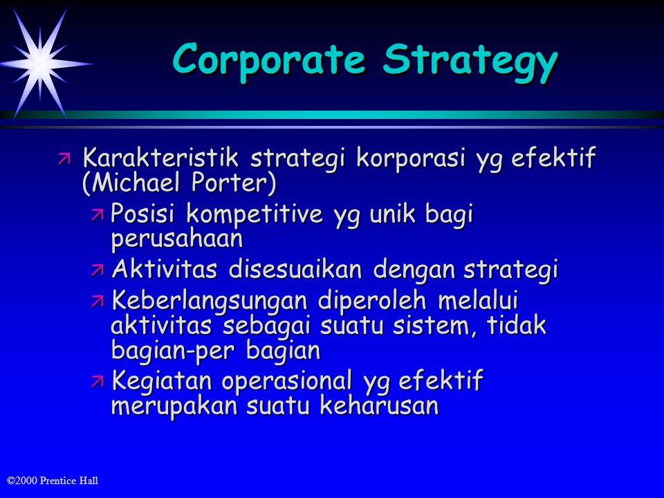 ©2000 Prentice Hall Corporate Strategy ä Karakteristik strategi korporasi yg efektif (Michael Porter) ä Posisi kompetitive yg unik bagi perusahaan ä Aktivitas disesuaikan dengan strategi ä Keberlangsungan diperoleh melalui aktivitas sebagai suatu sistem, tidak bagian-per bagian ä Kegiatan operasional yg efektif merupakan suatu keharusan