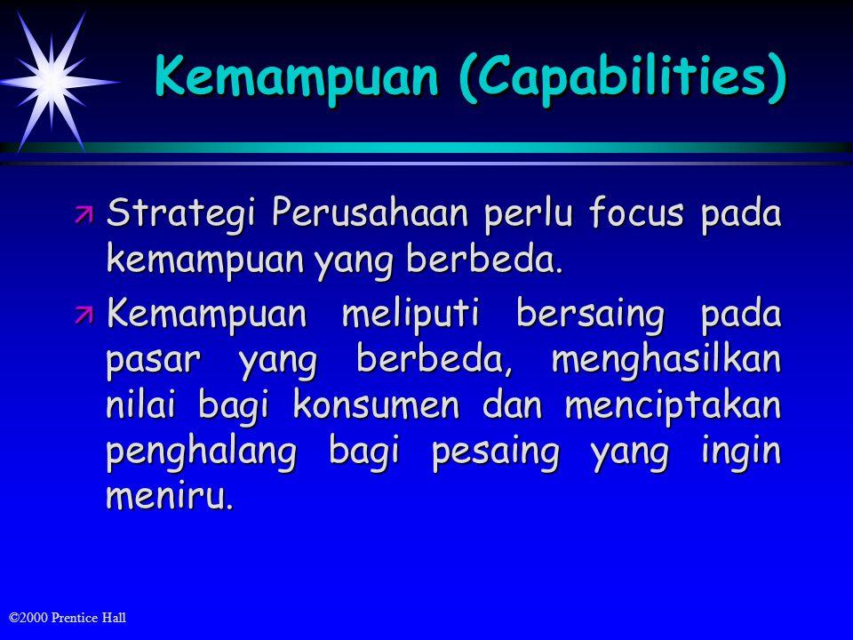 ©2000 Prentice Hall Kemampuan (Capabilities) ä Strategi Perusahaan perlu focus pada kemampuan yang berbeda.