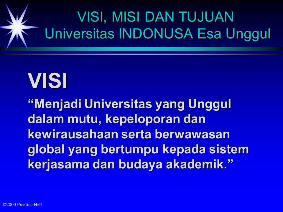 ©2000 Prentice Hall VISI, MISI DAN TUJUAN Universitas INDONUSA Esa Unggul VISI Menjadi Universitas yang Unggul dalam mutu, kepeloporan dan kewirausahaan serta berwawasan global yang bertumpu kepada sistem kerjasama dan budaya akademik.