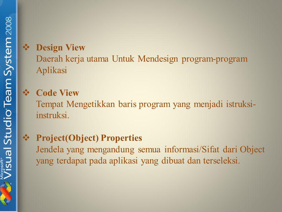  Design View Daerah kerja utama Untuk Mendesign program-program Aplikasi  Code View Tempat Mengetikkan baris program yang menjadi istruksi- instruks