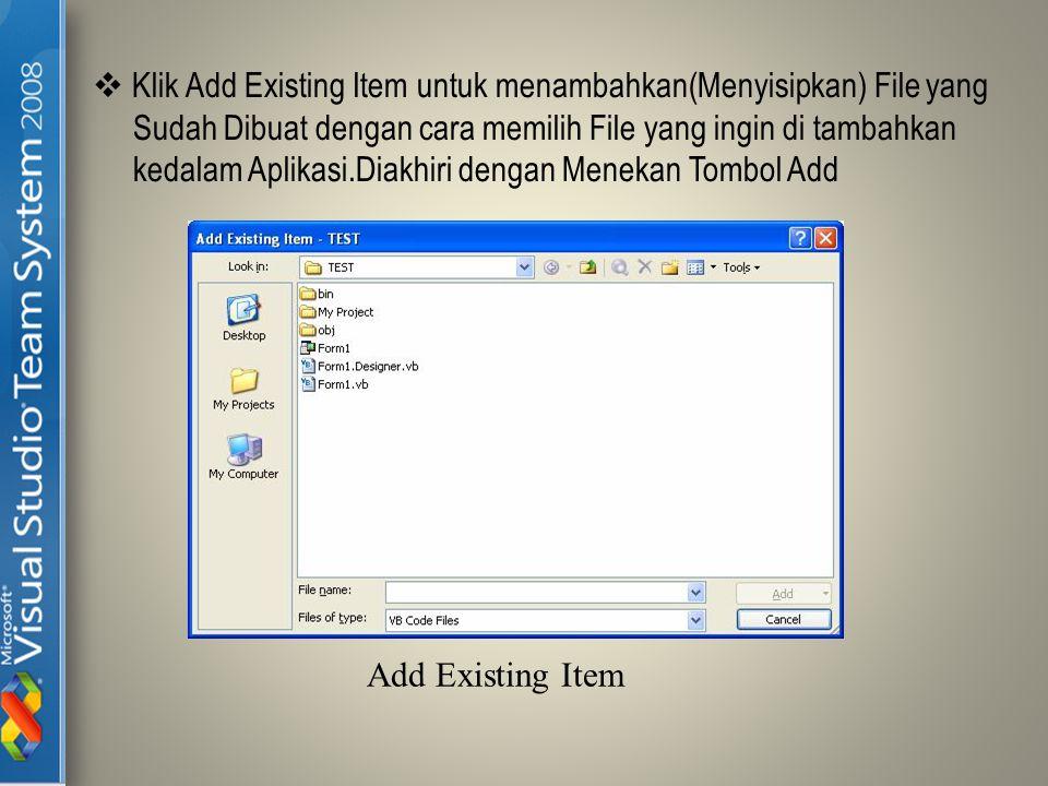  Klik Add Existing Item untuk menambahkan(Menyisipkan) File yang Sudah Dibuat dengan cara memilih File yang ingin di tambahkan kedalam Aplikasi.Diakh