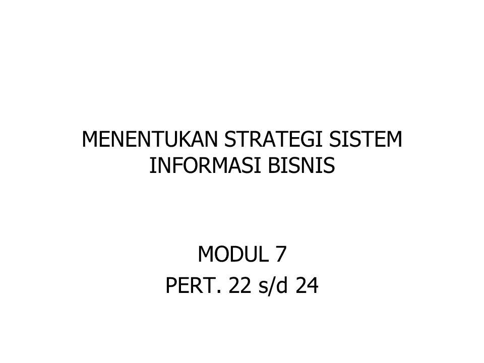 MENENTUKAN STRATEGI SISTEM INFORMASI BISNIS MODUL 7 PERT. 22 s/d 24