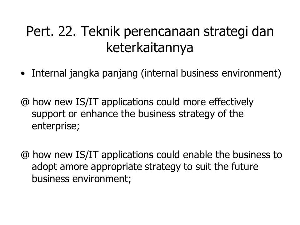 Pert. 22. Teknik perencanaan strategi dan keterkaitannya Internal jangka panjang (internal business environment) @ how new IS/IT applications could mo