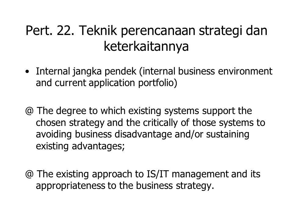 Pert. 22. Teknik perencanaan strategi dan keterkaitannya Internal jangka pendek (internal business environment and current application portfolio) @ Th