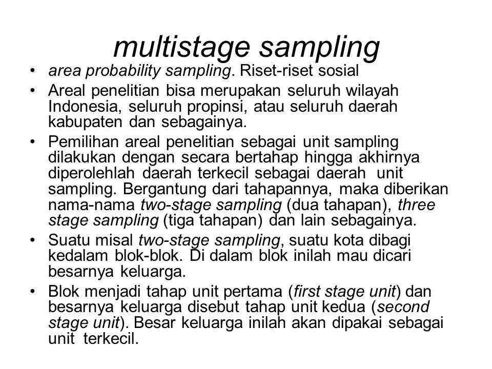 multistage sampling area probability sampling. Riset-riset sosial Areal penelitian bisa merupakan seluruh wilayah Indonesia, seluruh propinsi, atau se