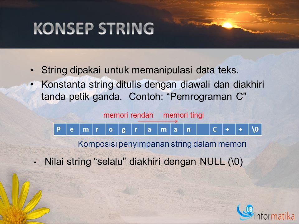Deklarasi Variabel string char nama_var[n]; Variabel string dengan panjang maksimal n karakter (termasuk karakter NULL) bernama nama_var.