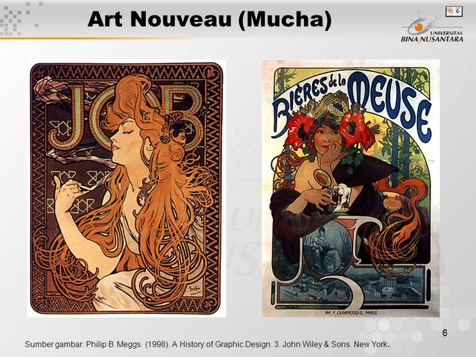 6 Art Nouveau (Mucha) Sumber gambar: Philip B. Meggs. (1998). A History of Graphic Design. 3. John Wiley & Sons. New York.