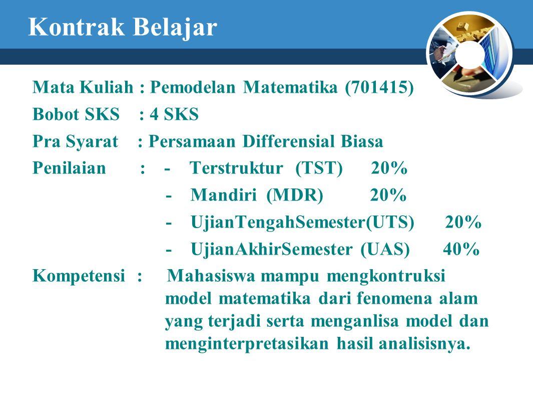 Kontrak Belajar Mata Kuliah : Pemodelan Matematika (701415) Bobot SKS : 4 SKS Pra Syarat : Persamaan Differensial Biasa Penilaian : - Terstruktur (TST