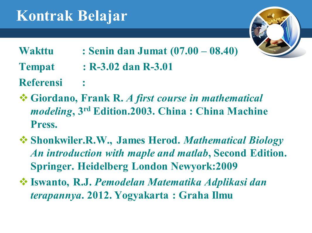 Kontrak Belajar Wakttu : Senin dan Jumat (07.00 – 08.40) Tempat : R-3.02 dan R-3.01 Referensi :  Giordano, Frank R. A first course in mathematical mo
