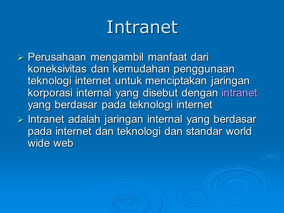Intranet  Perusahaan mengambil manfaat dari koneksivitas dan kemudahan penggunaan teknologi internet untuk menciptakan jaringan korporasi internal ya