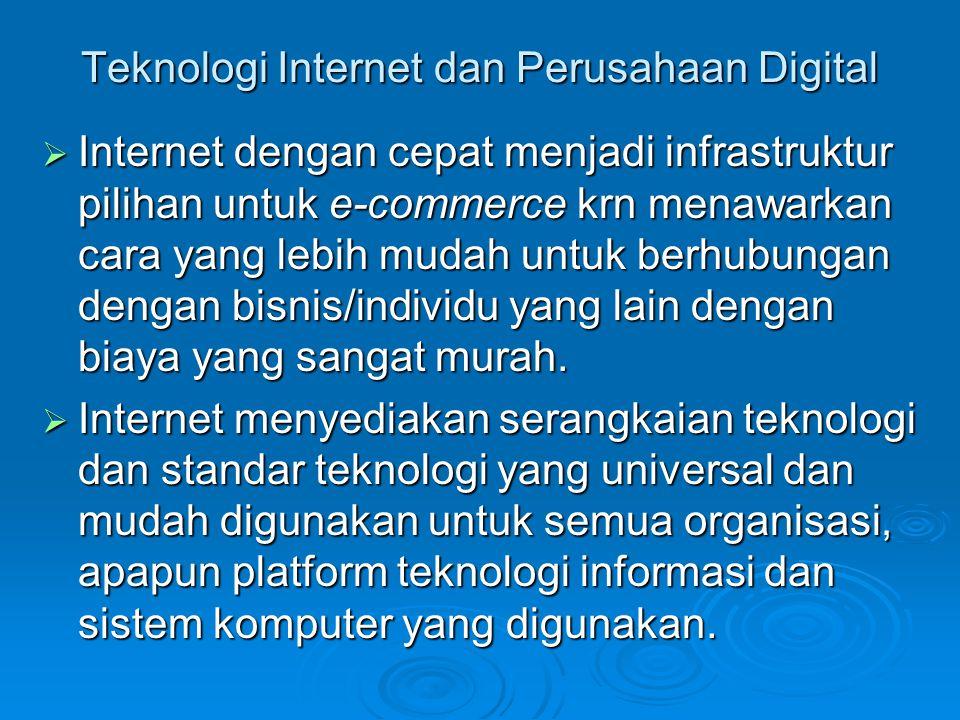 Teknologi Internet dan Perusahaan Digital  Internet dengan cepat menjadi infrastruktur pilihan untuk e-commerce krn menawarkan cara yang lebih mudah