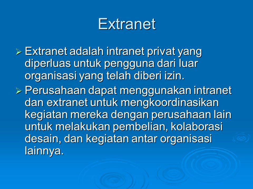 Extranet  Extranet adalah intranet privat yang diperluas untuk pengguna dari luar organisasi yang telah diberi izin.  Perusahaan dapat menggunakan i
