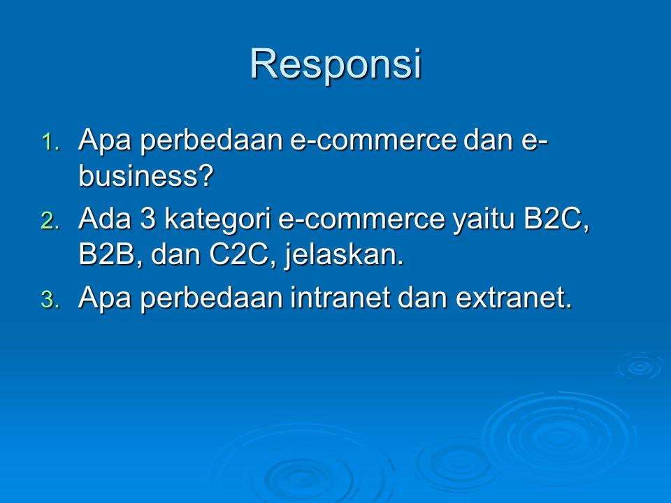 Responsi 1. Apa perbedaan e-commerce dan e- business? 2. Ada 3 kategori e-commerce yaitu B2C, B2B, dan C2C, jelaskan. 3. Apa perbedaan intranet dan ex