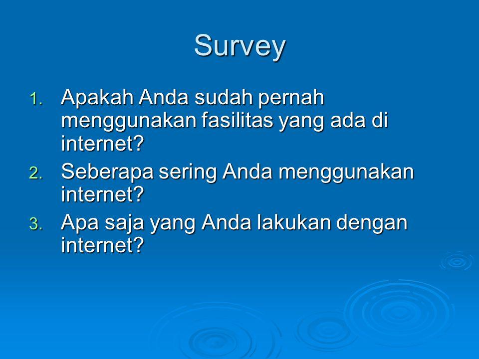 Survey 1. Apakah Anda sudah pernah menggunakan fasilitas yang ada di internet? 2. Seberapa sering Anda menggunakan internet? 3. Apa saja yang Anda lak
