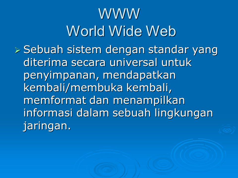 WWW World Wide Web  Sebuah sistem dengan standar yang diterima secara universal untuk penyimpanan, mendapatkan kembali/membuka kembali, memformat dan