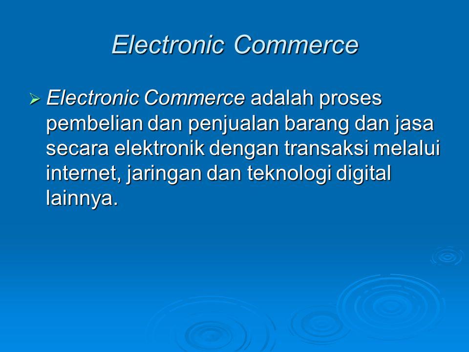 Kategori Electronic Commerce  Business-to-Consumer (B2C): e-commerce yang menjual produk dan jasa kepada pembeli individual.