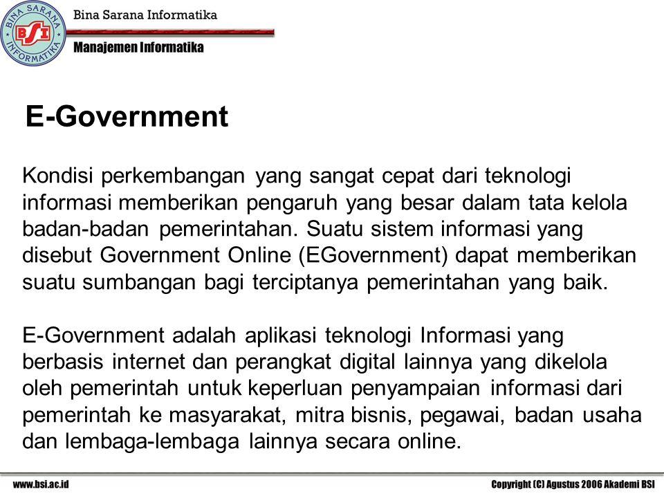 Kondisi perkembangan yang sangat cepat dari teknologi informasi memberikan pengaruh yang besar dalam tata kelola badan-badan pemerintahan.