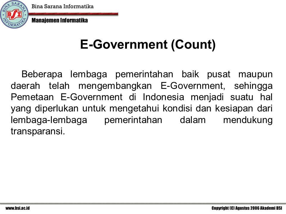 Beberapa lembaga pemerintahan baik pusat maupun daerah telah mengembangkan E-Government, sehingga Pemetaan E-Government di Indonesia menjadi suatu hal yang diperlukan untuk mengetahui kondisi dan kesiapan dari lembaga-lembaga pemerintahan dalam mendukung transparansi.